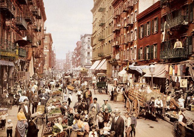Mulberry Street. The heart of the Italian district on the Lower East Side and, at the time, one of the most crowded places on Earth, 1900